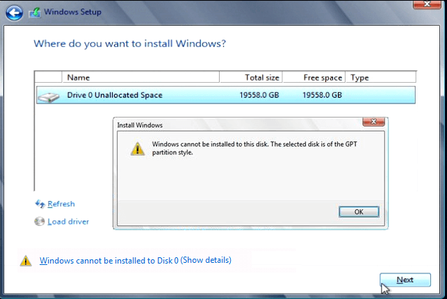 Mengatasi Windows Cannot be Installed to This Disk The Selected Disk is of the GPT Partition Style